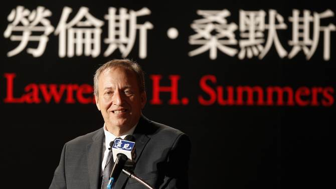 File photo of Lawrence H. Summers, ex-Director of the White House's National Economic Council, giving a speech in Taipei