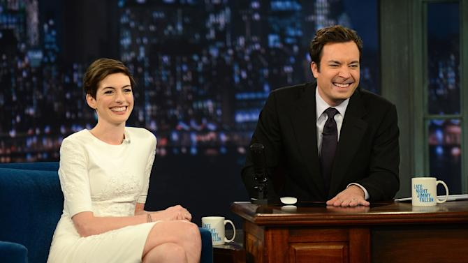 "Anne Hathaway Visits ""Late Night With Jimmy Fallon"""