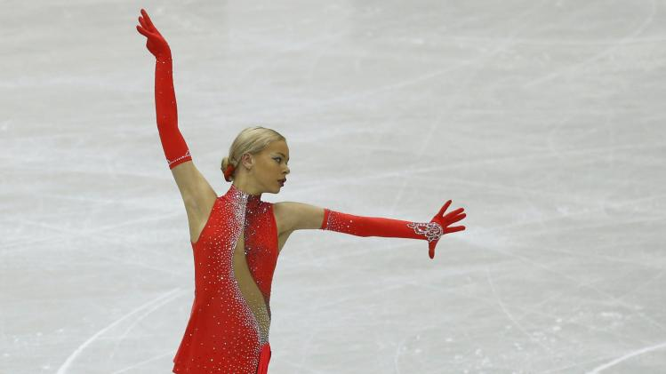 Pogorilaya of Russia performs during the women's short programme at the ISU Grand Prix of Figure Skating Final in Fukuoka