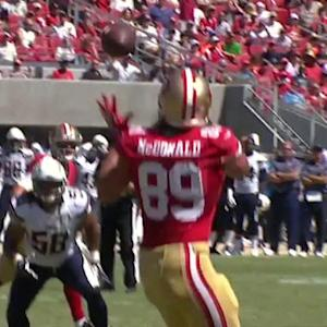 San Francisco 49ers quarterback Blaine Gabbert throws 6-yard TD pass