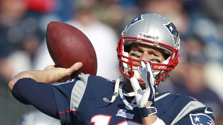 New England Patriots quarterback Tom Brady (12) throws prior to an NFL football game against the Buffalo Bills at Gillette Stadium in Foxborough, Mass., Sunday, Nov. 11, 2012. (AP Photo/Steven Senne)