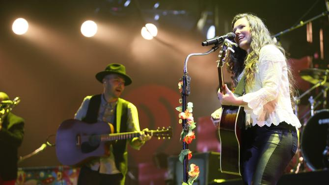 Mexican pop duo Jesse & Joy performs during the first-ever iHeartRadio Fiesta Latina at The Forum in Inglewood, California