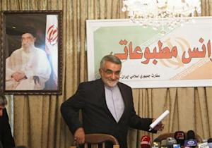 Boroujerdi, head of the Iranian parliamentary committee for national security and foreign policy, arrives for a news conference in Damascus