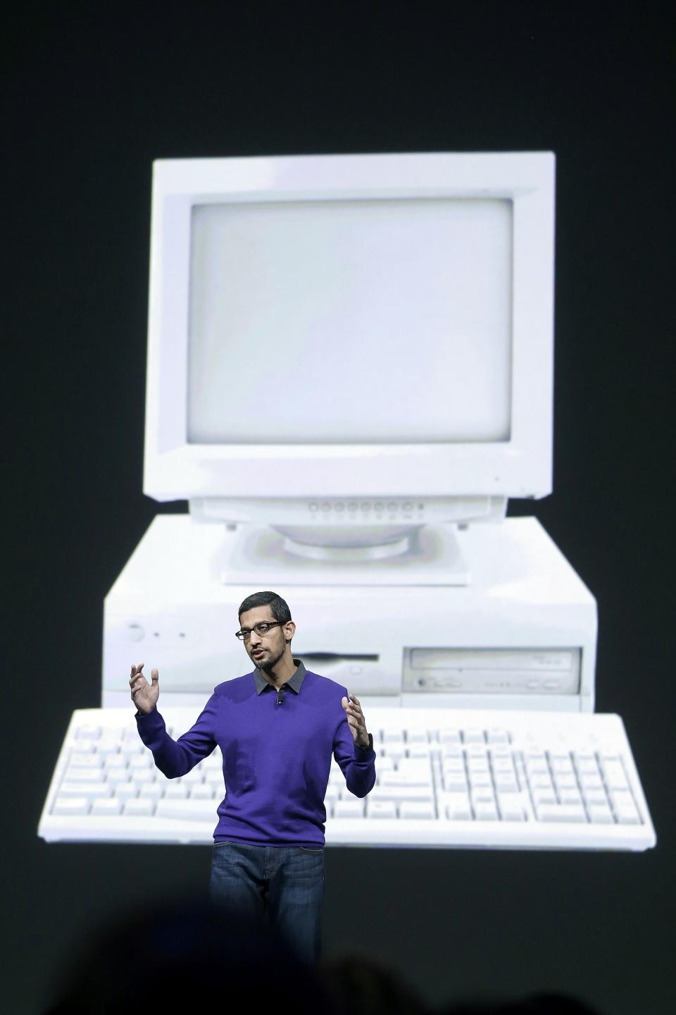 Sundar Pichai, senior vice president, Chrome and Apps at Google, speaks at Google I/O 2013 in San Francisco, Wednesday, May 15, 2013. (AP Photo/Jeff Chiu)