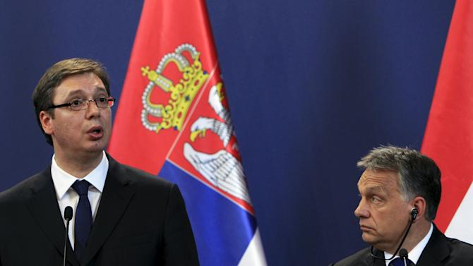 Orban and Vucic hold a joint news conference in Budapest