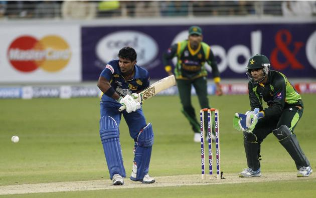 Sri Lanka's Kusal Perera plays a shot during their second Twenty20 international cricket match against Pakistan in Dubai