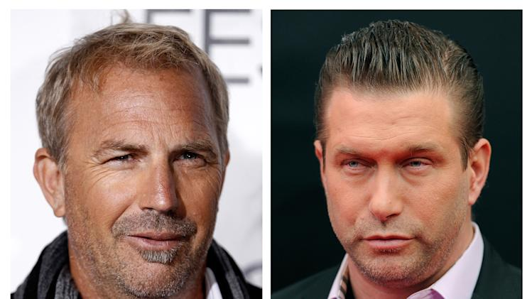 "In this photo combo, actor Kevin Costner, left, arrives at a screening of ""The Company Men"" during American Film Institute's AFI Fest 2010 in Los Angeles on Wednesday, Nov. 10, 2010; and at right, actor Stephen Baldwin attends the U.S. premiere of ""Mission: Impossible - Ghost Protocol"" at the Ziegfeld Theatre on Monday, Dec. 19, 2011, in New York. A New Orleans courtroom will be the setting for a real-life drama that casts Hollywood stars Costner and Baldwin in adversarial roles. A trial is scheduled to open Monday, June 4, 2012, for a lawsuit that Baldwin filed against Costner over their investments in a device that BP used in trying to clean up the massive Gulf of Mexico oil spill. The federal suit claims Costner and a business partner duped Baldwin and a friend out of their shares of an $18 million deal for BP to purchase oil-separating centrifuges after the April 2010 spill. (AP Photo/Matt Sayles, Evan Agostini)"