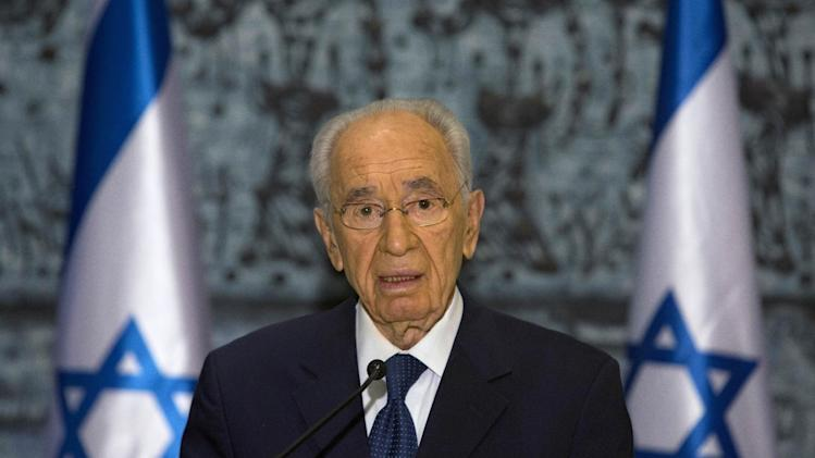 FILE - In this file photo taken Saturday, Jan. 11, 2014, Israel's President Shimon Peres delivers a statement following the death of late Israeli Prime Minister Ariel Sharon at the President's residence in Jerusalem. Among those vying to become Israel's next president are a former defense minister, a former foreign minister, a former finance minister, a respected long-serving lawmaker and a Nobel Prize winner. Amazingly, the man they all seek to replace has held all of those titles and more during a legendary 65-year political career. (AP Photo/Sebastian Scheiner, File)