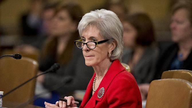Health and Human Services (HHS) Secretary Kathleen Sebelius testifies on Capitol Hill in Washington, Friday, April 12, 2013, before the House Ways and Means Committee hearing on President Barack Obama's budget proposal for fiscal year 2014, and the HHS.   (AP Photo/J. Scott Applewhite)