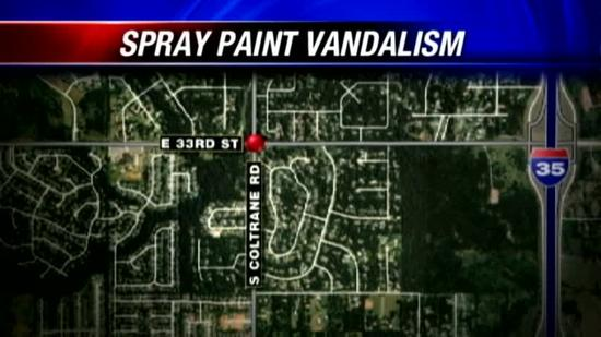 Edmond vehicles tagged with spray paint