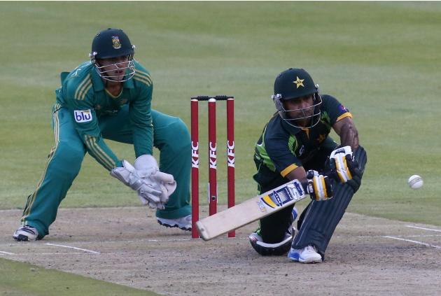 Pakistan's Mohammad Hafeez plays a shot during the second Twenty20 cricket match against South Africa in Cape Town