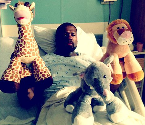 PIC: See 50 Cent in Hospital Bed, Surrounded by Stuffed Animals