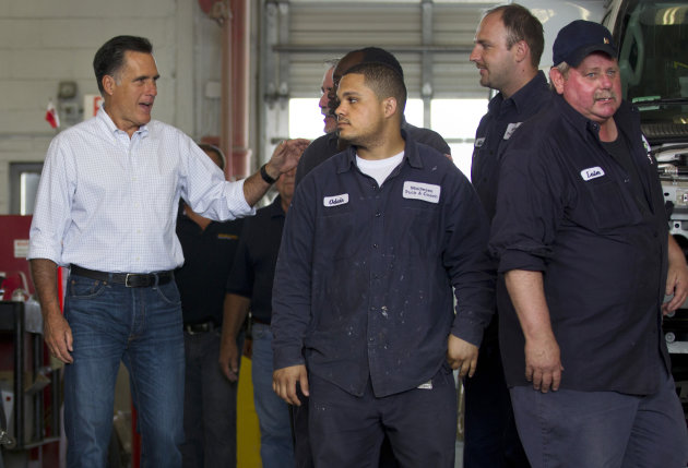 Republican presidential candidate, former Massachusetts Gov. Mitt Romney, arrives to campaign at Middlesex Truck and Coach on Thursday, July 19, 2012, in Roxbury, Mass. (AP Photo/Evan Vucci)