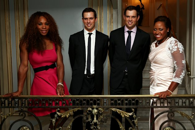 Serena Williams and Taylor Townsend, along with the Bryan brothers, at ITF World Champions Dinner during the 2013 French Open. The two will meet in th...