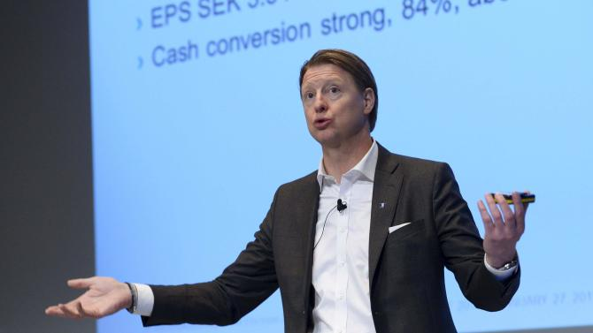 Ericsson Chief Executive Hans Vestberg gestures during a news conference in Stockholm