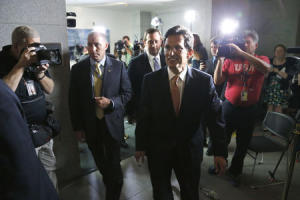 U.S. House Majority Leader Cantor departs after a news conference at the U.S. Capitol in Washington