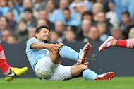 Roberto Mancini is 'worried' after Sergio Aguero, pictured, was stretchered off against Southampton