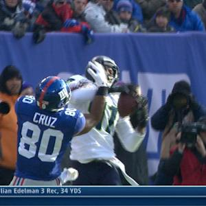 Seattle Seahawks cornerback Byron Maxwell picks off New York Giants quarterback Eli Manning
