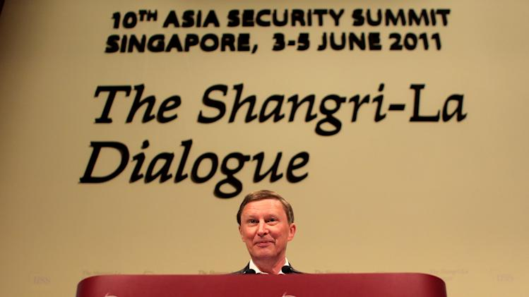 Russian Deputy Prime Minister Sergei Ivanov, delivers a speech during the final day of the International Institute for Strategic Studies (IISS) Asia Securities Summit, the Shangri-La Dialogue in Singapore, Sunday, June 5, 2011. (AP Photo/Wong Maye-E)