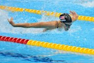 US swimmer Dana Vollmer competes in the women's 100m butterfly final swimming event at the London 2012 Olympic Games in London. Vollmer won the women's 100m butterfly Olympic gold medal Sunday, clocking a world record of 55.98sec for a crushing victory over China's Lu Ying