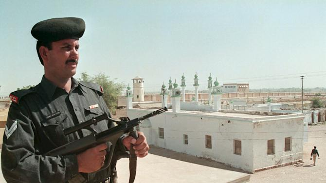 File photo of Pakistan soldier standing at his post and guarding the central jail in Hyderabad
