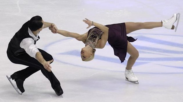 Tatiana Volosozhar and Maxim Trankov of Russia perform during the pairs short program at the European Figure Skating Championships in Zagreb January 23, 2013 (Reuters)
