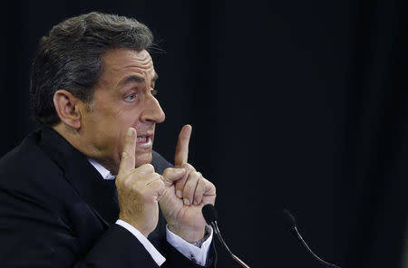 Former French president Sarkozy delivers a speech at a campaign rally for the leadership of the UMP political party in Mulhouse