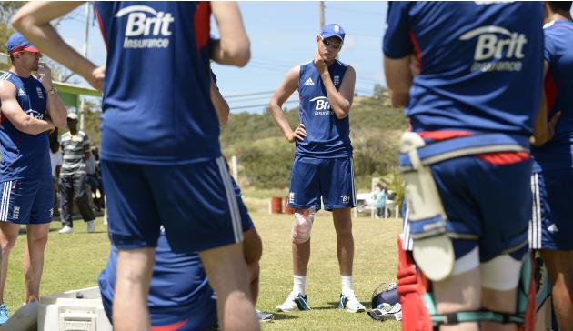 England's captain Broad listens during a team talk at a training session before Sunday's first T20 international match against the West Indies in Barbados