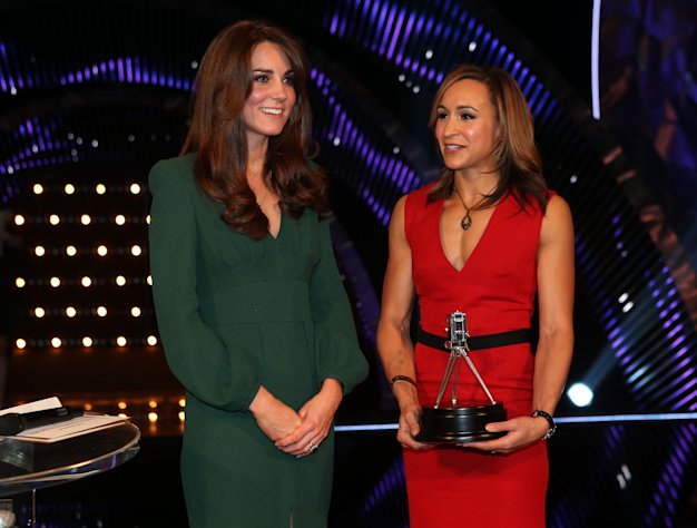 Kate, the Duchess of Cambridge, left, stands alongside second placed Sports Personality of the Year 2012, British athlete Jessica Ennis during the BBC Sports Personality of the Year Awards 2012 in London, Sunday Dec. 16, 2012. (AP Photo/David Davies, PA) UNITED KINGDOM OUT: NO SALES: NO ARCHIVE