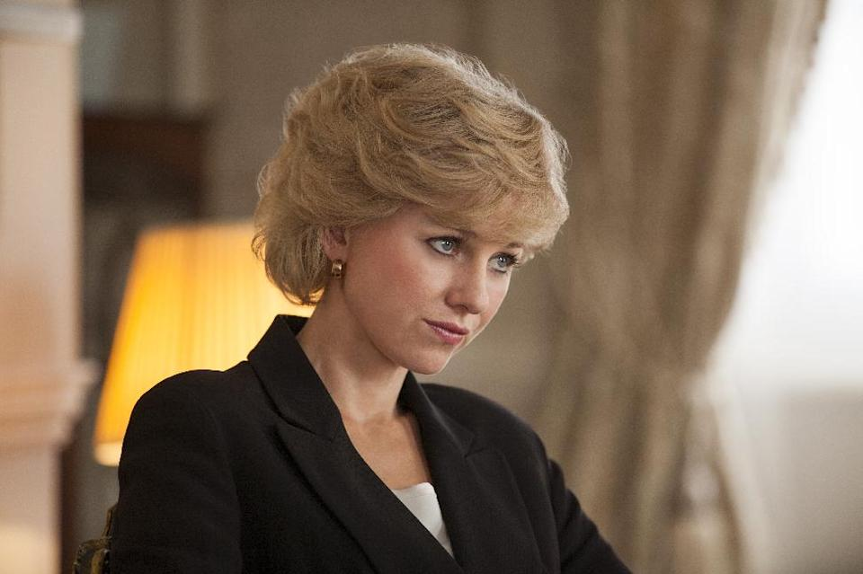 "This film image released by Entertainment One Films shows Naomi Watts as Diana, Princess of Wales, in a scene from ""Diana."" (AP Photo/Entertainment One Films, Laurie Sparham)"
