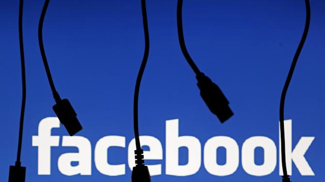 File illustration photo of electronic cables silhouetted next to the logo of Facebook