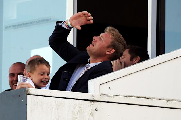 MANCHESTER, ENGLAND - JULY 09:  Andrew Flintoff watches on from the stands during the fifth Natwest One Day International between England and Sri Lanka at Old Trafford on July 9, 2011 in Manchester, U