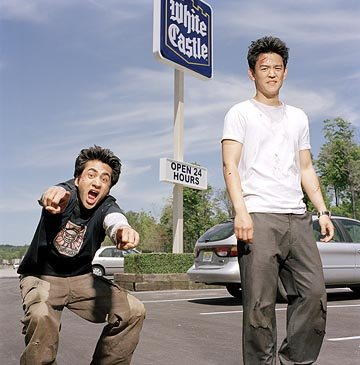 Kal Penn as Kumar and John Cho as Harold in New Line's Harold & Kumar Go to White Castle