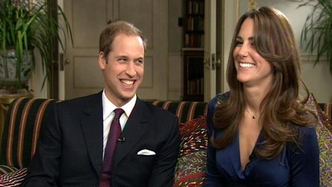 """Image from video of Britain's Prince William and Kate Middleton during a television interview recorded and aired on the day they announced their engagement Tuesday Nov.16, 2010. Prince William revealed that he proposed using the engagement ring of his mother, Diana, Princess of Wales, to make sure she """"didn't miss out on the excitement"""". William and his long-term girlfriend, Kate Middleton, got engaged on holiday in Kenya last month and will marry next year. (AP Photo/pool)"""