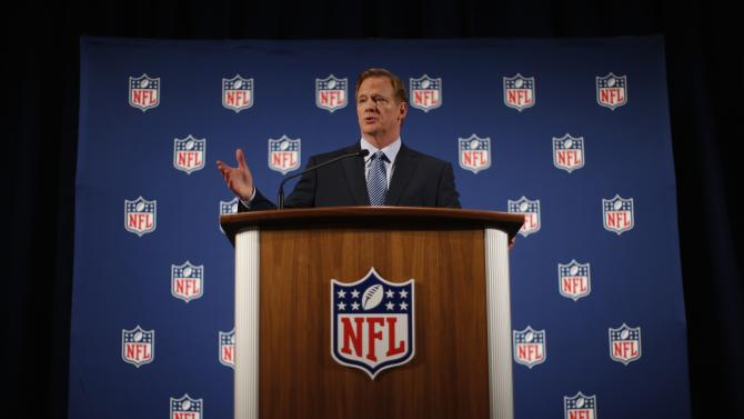 NFL Commissioner Roger Goodell speaks at a news conference in New York