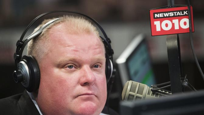 Toronto Mayor Rob Ford talks on his weekly radio show in Toronto, Sunday, Nov. 3, 2013. (AP Photo/The Canadian Press, Mark Blinch)