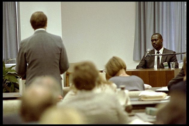 1990: Ben Johnson in the dock during the Dubin enquiry