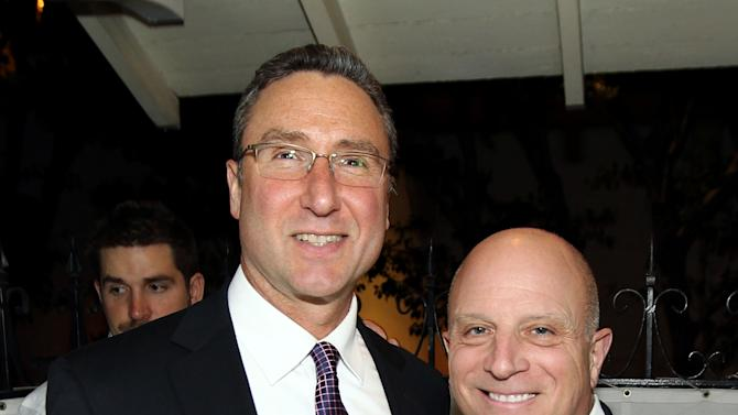 """IMAGE DISTRIBUTED FOR STARZ - Chris Albrecht, chief executive of STARZ, right, and Carmi Zlotnik, managing director of STARZ, pose together at the after party for the premiere of """"Spartacus: War of the Damned"""" on Tuesday, Jan. 22, 2013 in Los Angeles. """"Spartacus: War of the Damned"""" premieres Friday, Jan. 25 at 9PM on STARZ. (Photo by Matt Sayles/Invision for STARZ/AP Images)"""