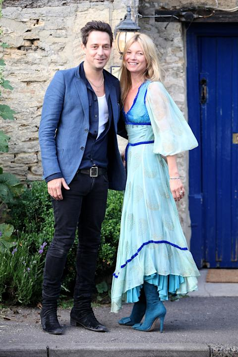 Kate Moss (with husband Jamie Hince) in a fairytale dress