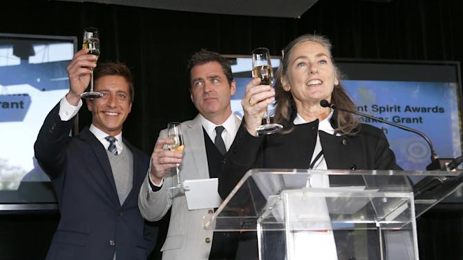 Film Independent Co-Presidents Sean Mc Manus and Josh Welsh and Film Independent Chair Mary Sweeney attend the Film Independent Spirit Awards Luncheon at BOA Steakhouse on Saturday, Jan. 12, 2013, in West Hollywood, Calif. (Photo by Todd Williamson/Invision/AP)