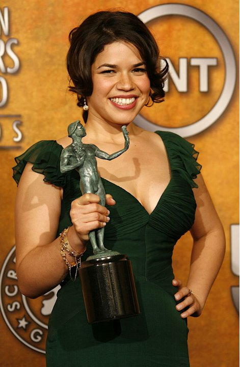 America Ferrera, winner Outstanding Performance by a Female Actor in a Comedy Series for &quot;Ugly Betty&quot; at the 13th Annual Screen Actors Guild Awards. 