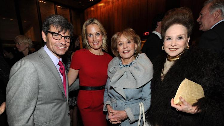 From left, George Stephanopolous, Ali Wentworth, Barbara Walters, and Cindy Adams attend The Hollywood Reporter Celebrates the 35 Most Powerful People in Media, on April 10th, 2013, in New York. (Photo by Evan Agostini/Invision for The Hollywood Reporter/AP Images)