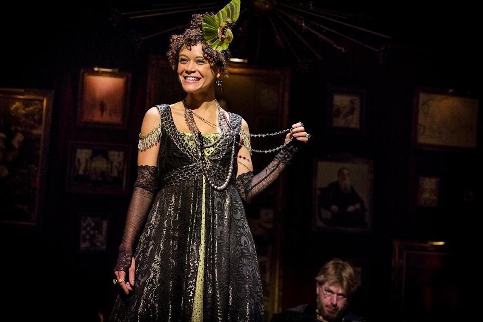 "This undated theater image released by The Hartman Group shows Amber Gray in ""Natasha, Pierre and the Great Comet of 1812,"" a dinner theater performance that opened Thursday, May 15, 2013 in the meatpacking district of New York. (AP Photo/The Hartman Group, Chad Batka)"