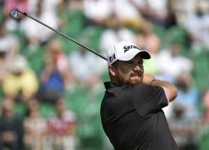 Shane Lowry of Ireland watches his tee shot during the second round of the British Open Championship at the Royal Liverpool Golf Club in Hoylake