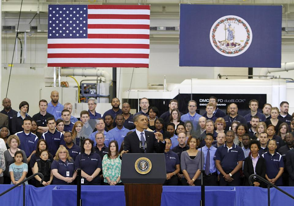 President Barack Obama gestures during a speech on the economy, Friday, March 9, 2012, at the Rolls Royce  aircraft engine part production plant in Prince George, Va. (AP Photo/Steve Helber)