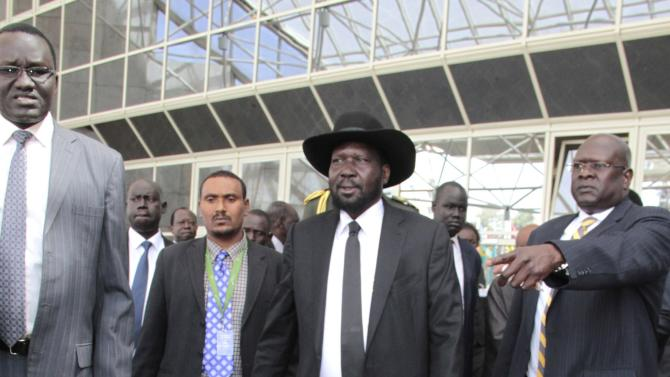 South Sudan's President Kiir leaves after attending peace talks with the South Sudanese rebels in Ethiopia's capital Addis Ababa