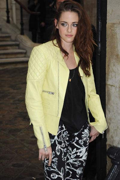 Stewart is a regular at Balenciaga shows and is also the face of their fragrance. A fan of this particular jacket, Stewart also owns this coat in red and black. (Photo by Julien Hekimian/WireImage)