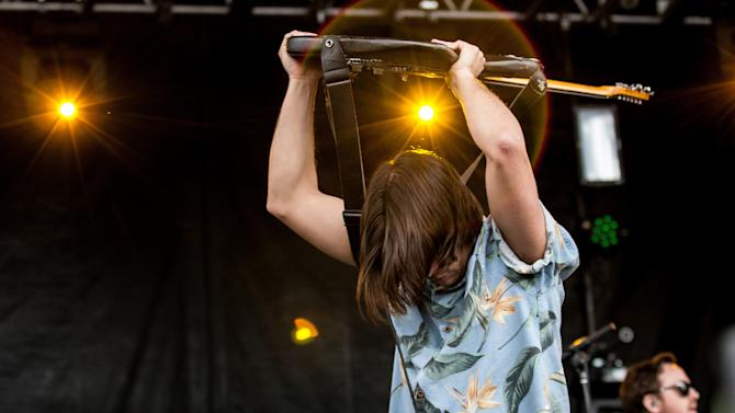 Matthew Vasquez, lead singer and guitarist for Delta Spirit, performs during the inaugural Shaky Knees Music Festival on Sunday, May 5, 2013, in Atlanta. (AP Photo/Ron Harris)
