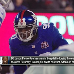 New York Giants trainer visiting defensive end Jason Pierre-Paul today