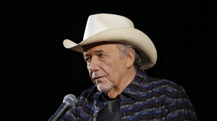 Bobby Bare speaks Wednesday, April 10, 2013, in Nashville, Tenn., during the announcement of the newest inductees into the Country Music Hall of Fame. Bare will be inducted with Kenny Rogers and Jack Clement. (AP Photo/Mark Humphrey)